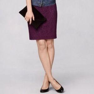 Jcrew purple lace pencil skirt